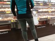 Tight green jeans ass blond milf