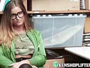 Nerdy brunette teen with spex loves getting pounded roughly