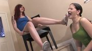 Licking dirty flip-flops - lesbian foot worship