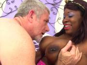 Black BBW Has White Dick Stuffed in Her Mouth & Twat