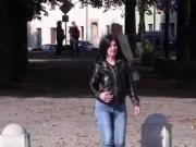Daring jeans peeing while walking on the street 2