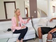 Interview teen Kara gets mouth and pussy stuffed with BBC