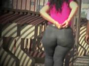 Thick sexy redbone MILF walking in painted jeans
