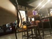 Sexy legs under table at starbucks