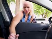 blonde is not against shove her hand into pants to the guy