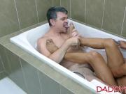 Young gay Asian breeding with feet loving hairy daddy