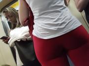 Red pants big ass legging