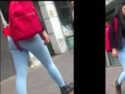 Chutita en jeans caminando