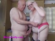 Mature Sally in hot pink underwear