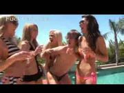 Drunk girls at poolparty abuse a boy