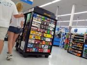 Candid voyeur hot blonde pale teen tight shorts walmart