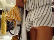 Candid voyeur teen showing cheeks in romper