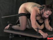 Gagged bdsm sub caned while bound