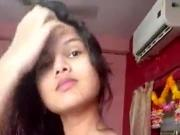Desi small tit teen, stripping and oiling her body