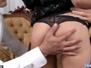 DP screwed eurobabe gags on a hard cock