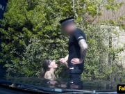 Spex british slut pussyfucks cop in his car