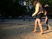 sexy girls in Shortest miniskirt playing petanque
