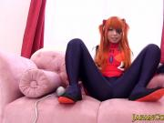 Asian babe Chika Arimura sucks as Evangelion