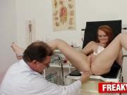 Chubby redhead Samantha gyno clinic vagina check-up
