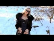 Compilation of ladies in leather coats with fur collar