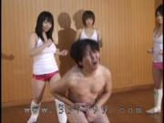 Japanese domina blame the crotch of slave's