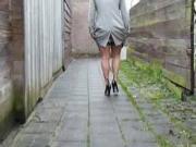 BBW in lingerie teasing in a backalley nt