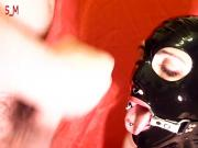 Latex mask big load cumshot ring gag 720p HD