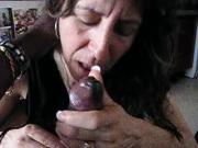 Mature Wife sucking her Black Lover