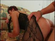 Redhead milf creamed on her gaping butt bodystocking
