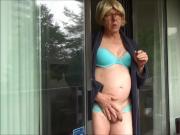 Naughty Gigi smoking and flashing in blue bra and panties