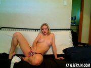 Teen Kaylee Rain models topless in her new pink panties