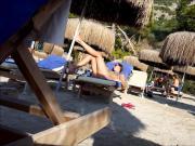 Tourist girl ass at Turkish seaside