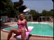 Pool side pussy fucking action with horny blonde