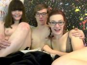 Nerd college boy fucks two girls