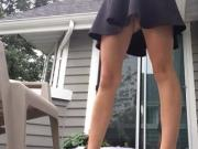 Milf pees on porch standing