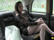 Euro taxi babe facialized after throating
