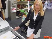 Office MILF cocksucks pawnbroker for cash