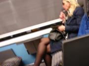 Spying Blonde MILF wearing sexy black pantyhose on a train