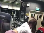 Hot chick with spandex in gym working out part 1
