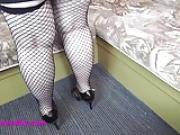 Granny in fishents and high heels