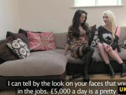 UK trio cocksucking and fingering at casting