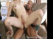 Amazing shemale babe Casey Kisses making love to BBC stud