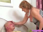 Bigass alluring granny rides cock