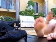 Sister taking of her heels