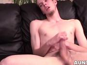 Amateur butt buddy plays with his erect dick until he cums
