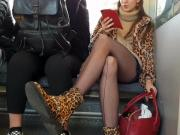 Upskirt candid shots and pantyhose on train and bus