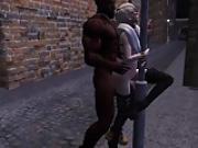 Femboy and black man on the street