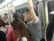 Watching man cum on woman in train