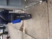 Slim booty chick in grey dress pants