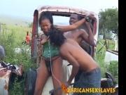 Bound sex slave having interracial sex